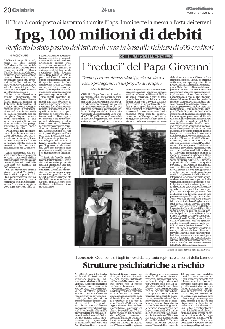 Il quotidiano 19-03-2010 pag 20